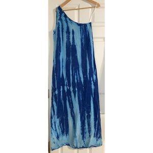 C&C California Blue tie dye 1 shoulder maxi dress